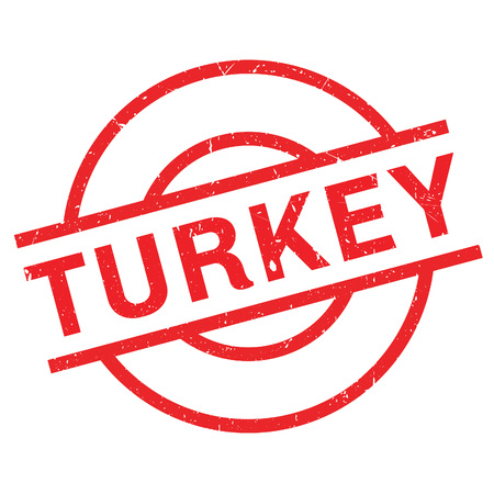Turkey rubber stamp. Grunge design with dust scratches. Effects can be easily removed for a clean, crisp look. Color is easily changed.