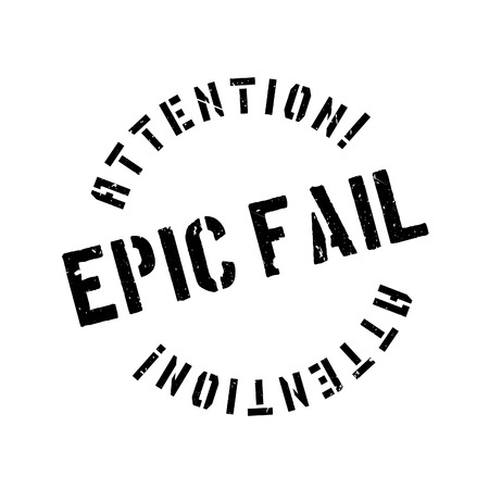 Epic fail rubber stamp. Grunge design with dust scratches. Effects can be easily removed for a clean, crisp look. Color is easily changed.