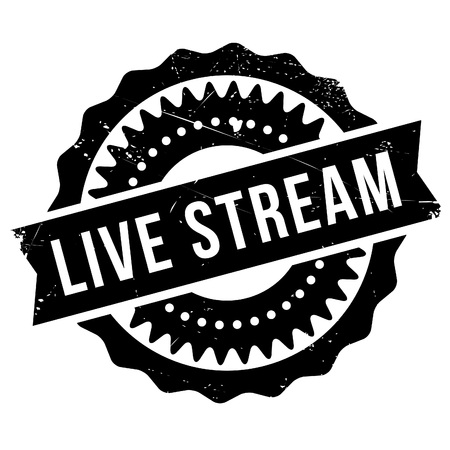Live stream stamp. Grunge design with dust scratches. Effects can be easily removed for a clean, crisp look. Color is easily changed. Illustration