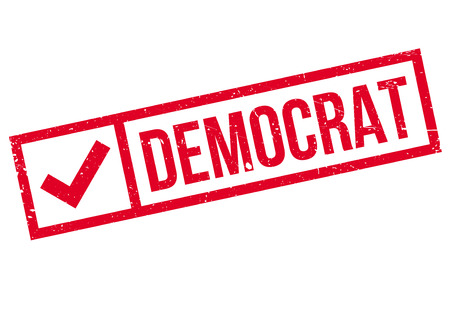 Democrat stamp. Grunge design with dust scratches. Effects can be easily removed for a clean, crisp look. Color is easily changed.