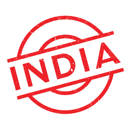 India rubber stamp. Grunge design with dust scratches. Effects can be easily removed for a clean, crisp look. Color is easily changed.