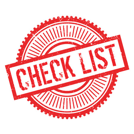 Check list stamp. Grunge design with dust scratches. Effects can be easily removed for a clean, crisp look. Color is easily changed. Illustration