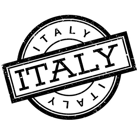 imprinted: Italy rubber stamp. Grunge design with dust scratches. Effects can be easily removed for a clean, crisp look. Color is easily changed. Illustration