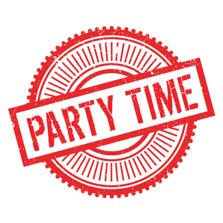 Party time stamp. Grunge design with dust scratches. Effects can be easily removed for a clean, crisp look. Color is easily changed.