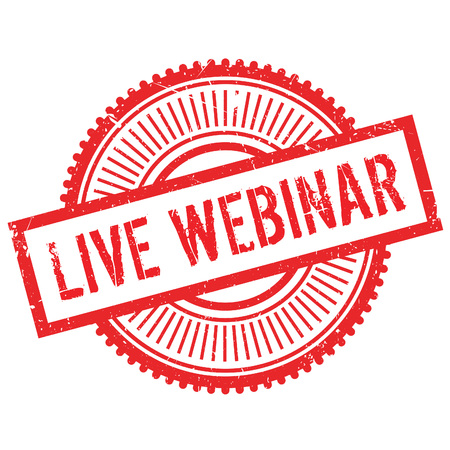 existent: Live webinar stamp. Grunge design with dust scratches. Effects can be easily removed for a clean, crisp look. Color is easily changed. Illustration