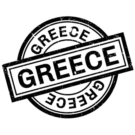 imprinted: Greece rubber stamp. Grunge design with dust scratches. Effects can be easily removed for a clean, crisp look. Color is easily changed. Illustration