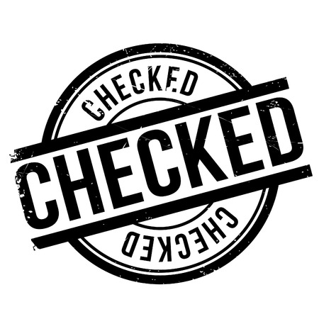 Checked stamp. Grunge design with dust scratches. Effects can be easily removed for a clean, crisp look. Color is easily changed.