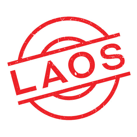 Laos rubber stamp. Grunge design with dust scratches. Effects can be easily removed for a clean, crisp look. Color is easily changed.