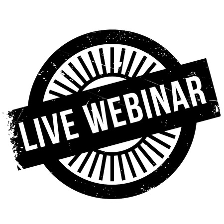 recitation: Live webinar stamp. Grunge design with dust scratches. Effects can be easily removed for a clean, crisp look. Color is easily changed. Illustration