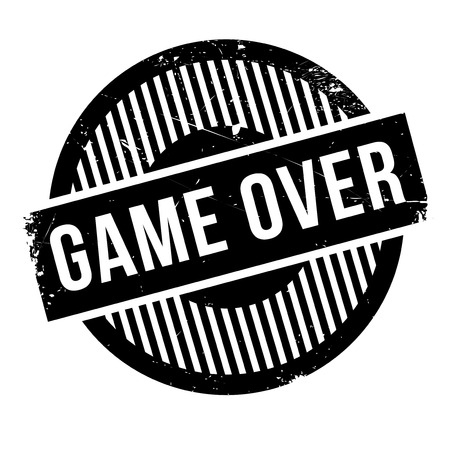 settled: Game over rubber stamp. Grunge design with dust scratches. Effects can be easily removed for a clean, crisp look. Color is easily changed.