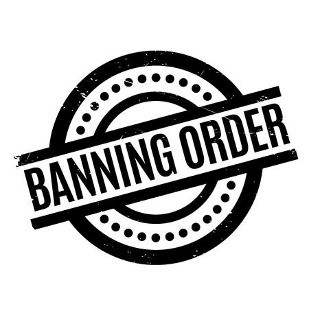 injunction: Banning Order rubber stamp. Grunge design with dust scratches. Effects can be easily removed for a clean, crisp look. Color is easily changed.