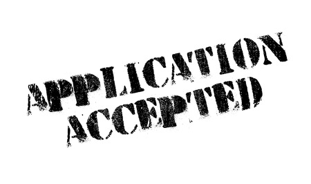 uni: Application Accepted rubber stamp. Grunge design with dust scratches. Effects can be easily removed for a clean, crisp look. Color is easily changed.