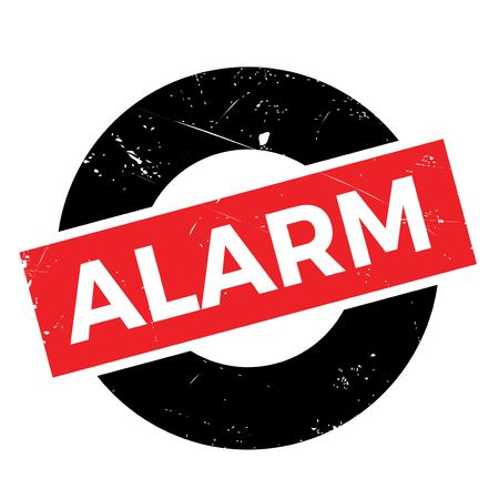 alarming: Alarm rubber stamp. Grunge design with dust scratches. Effects can be easily removed for a clean, crisp look. Color is easily changed. Illustration