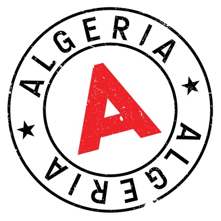 Algeria stamp. Grunge design with dust scratches. Effects can be easily removed for a clean, crisp look. Color is easily changed.