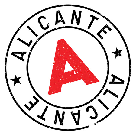 Alicante stamp. Grunge design with dust scratches. Effects can be easily removed for a clean, crisp look. Color is easily changed. Illustration