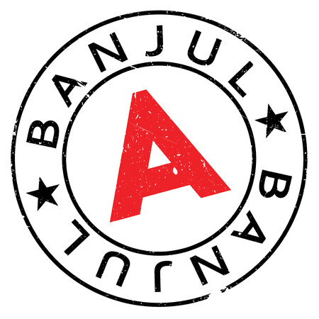 gambia: Banjul stamp. Grunge design with dust scratches. Effects can be easily removed for a clean, crisp look. Color is easily changed.
