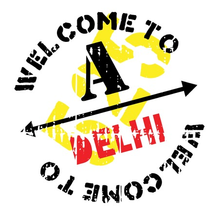 Delhi stamp. Grunge design with dust scratches. Effects can be easily removed for a clean, crisp look. Color is easily changed.