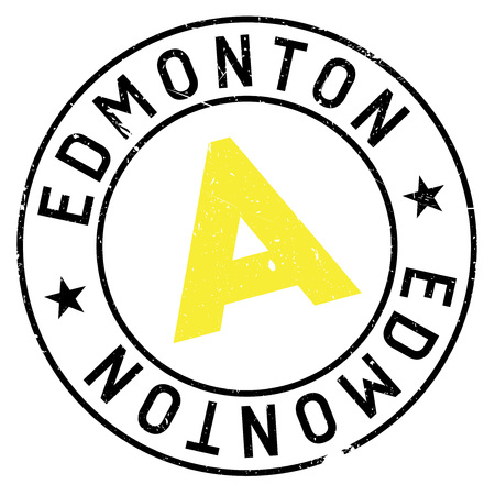 canada stamp: Edmonton stamp. Grunge design with dust scratches. Effects can be easily removed for a clean, crisp look. Color is easily changed. Illustration