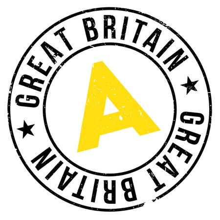 Great Britain stamp. Grunge design with dust scratches. Effects can be easily removed for a clean, crisp look. Color is easily changed.