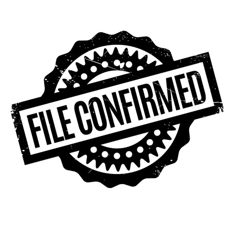 confirmed: File Confirmed rubber stamp. Grunge design with dust scratches. Effects can be easily removed for a clean, crisp look. Color is easily changed. Stock Photo