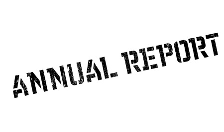 Annual Report rubber stamp. Grunge design with dust scratches. Effects can be easily removed for a clean, crisp look. Color is easily changed. Stock Photo