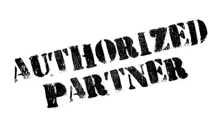 authoritative: Authorized Partner rubber stamp. Grunge design with dust scratches. Effects can be easily removed for a clean, crisp look. Color is easily changed. Stock Photo