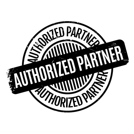 comrade: Authorized Partner rubber stamp. Grunge design with dust scratches. Effects can be easily removed for a clean, crisp look. Color is easily changed. Stock Photo