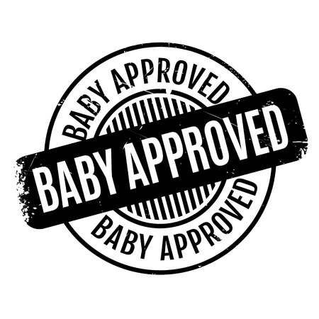 approbation: Baby Approved rubber stamp. Grunge design with dust scratches. Effects can be easily removed for a clean, crisp look. Color is easily changed. Stock Photo