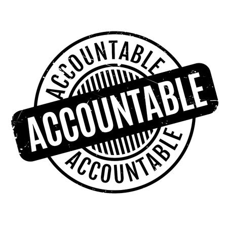 accountable: Accountable rubber stamp. Grunge design with dust scratches. Effects can be easily removed for a clean, crisp look. Color is easily changed. Stock Photo