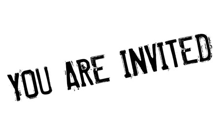 you are invited: You Are Invited rubber stamp. Grunge design with dust scratches. Effects can be easily removed for a clean, crisp look. Color is easily changed. Stock Photo