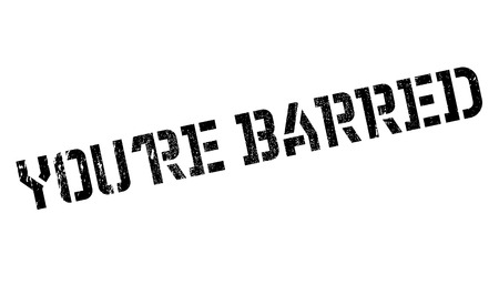 barring: You are Barred rubber stamp. Grunge design with dust scratches. Effects can be easily removed for a clean, crisp look. Color is easily changed. Stock Photo