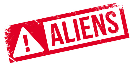 ufo conspiracy theory: Aliens rubber stamp. Grunge design with dust scratches. Effects can be easily removed for a clean, crisp look. Color is easily changed.
