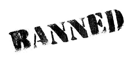 Banned rubber stamp. Grunge design with dust scratches. Effects can be easily removed for a clean, crisp look. Color is easily changed.