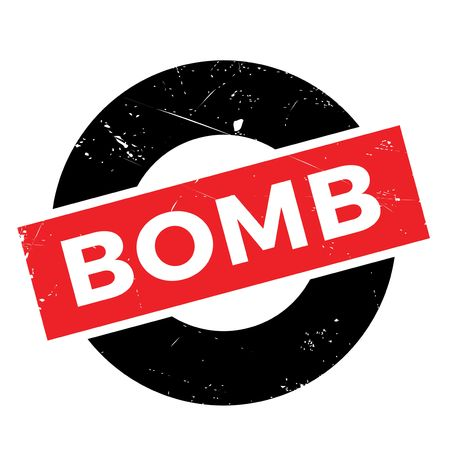 contaminated: Bomb rubber stamp. Grunge design with dust scratches. Effects can be easily removed for a clean, crisp look. Color is easily changed. Stock Photo