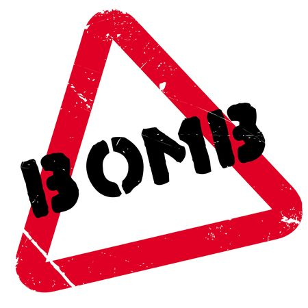 Bomb rubber stamp. Grunge design with dust scratches. Effects can be easily removed for a clean, crisp look. Color is easily changed. Stock Photo