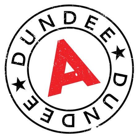 Dundee stamp. Grunge design with dust scratches. Effects can be easily removed for a clean, crisp look. Color is easily changed.