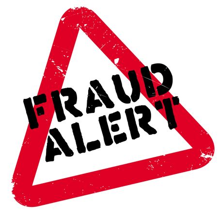 Fraud alert rubber stamp. Grunge design with dust scratches. Effects can be easily removed for a clean, crisp look. Color is easily changed. Archivio Fotografico