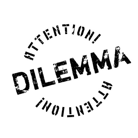 predicament: Dilemma rubber stamp. Grunge design with dust scratches. Effects can be easily removed for a clean, crisp look. Color is easily changed.