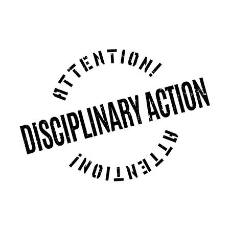disciplinary action: Disciplinary Action rubber stamp. Grunge design with dust scratches. Effects can be easily removed for a clean, crisp look. Color is easily changed. Illustration