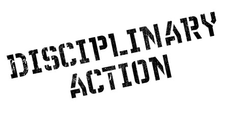 disciplinary action: Disciplinary Action rubber stamp. Grunge design with dust scratches. Effects can be easily removed for a clean, crisp look. Color is easily changed. Stock Photo