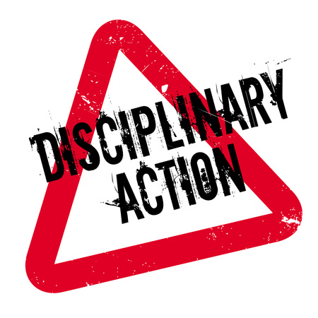 Disciplinary Action rubber stamp. Grunge design with dust scratches. Effects can be easily removed for a clean, crisp look. Color is easily changed. Vectores