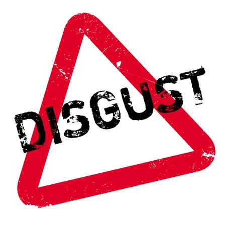 Disgust rubber stamp. Grunge design with dust scratches. Effects can be easily removed for a clean, crisp look. Color is easily changed. Illustration