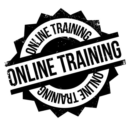 buildup: Online training stamp. Grunge design with dust scratches. Effects can be easily removed for a clean, crisp look. Color is easily changed. Illustration