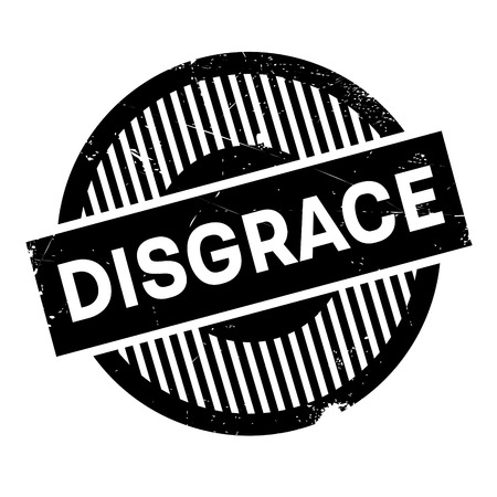 disgrace: Disgrace rubber stamp. Grunge design with dust scratches. Effects can be easily removed for a clean, crisp look. Color is easily changed. Stock Photo