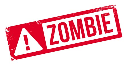 horrific: Zombie rubber stamp. Grunge design with dust scratches. Effects can be easily removed for a clean, crisp look. Color is easily changed.