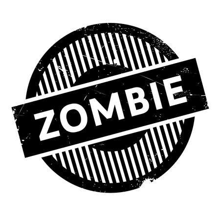 freaky: Zombie rubber stamp. Grunge design with dust scratches. Effects can be easily removed for a clean, crisp look. Color is easily changed.
