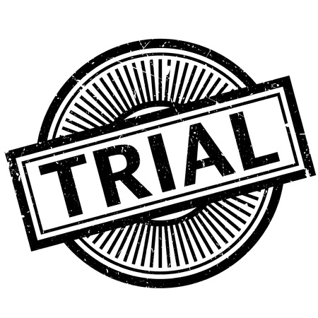 R: Trial stamp. Grunge design with dust scratches. Effects can be easily removed for a clean, crisp look. Color is easily changed.