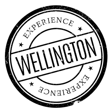 Wellington stamp. Grunge design with dust scratches. Effects can be easily removed for a clean, crisp look. Color is easily changed.