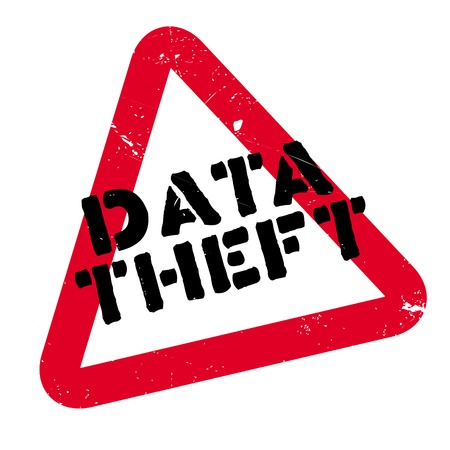 Data Theft rubber stamp. Grunge design with dust scratches. Effects can be easily removed for a clean, crisp look. Color is easily changed. Stock Photo