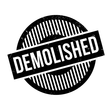 tearing down: Demolished rubber stamp. Grunge design with dust scratches. Effects can be easily removed for a clean, crisp look. Color is easily changed. Illustration